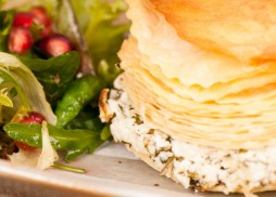 Layered filo pastry filled Halloumi, Turkish goats cheese, Fresh Anari cheese and Parsley & mint.