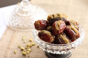 Medjool dates stuffed with rose infused ground roasted nuts and a little gold angel dust!
