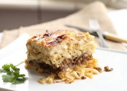 Traditional Cypriot Macaroni cheese with spiced mince and Halloumi
